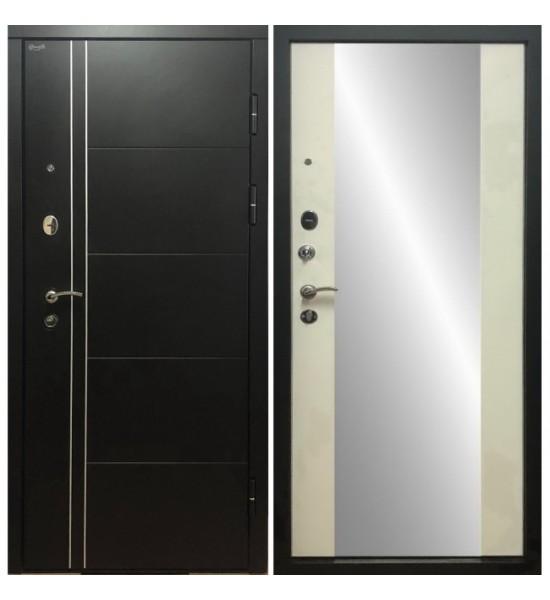 Входная дверь Дверной континент ТЕПЛОЛЮКС ЗЕРКАЛО (Беленый Дуб)