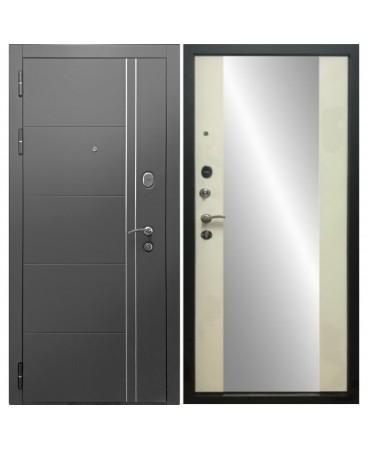 Входная дверь Дверной континент ТЕПЛОЛЮКС ЗЕРКАЛО (Графит / Беленый Дуб)